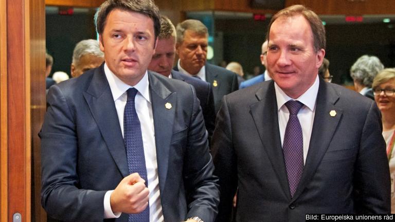 Italiens premiärminister Matteo Renzi och statsminister Stefan Löfven på väg in på mötet.