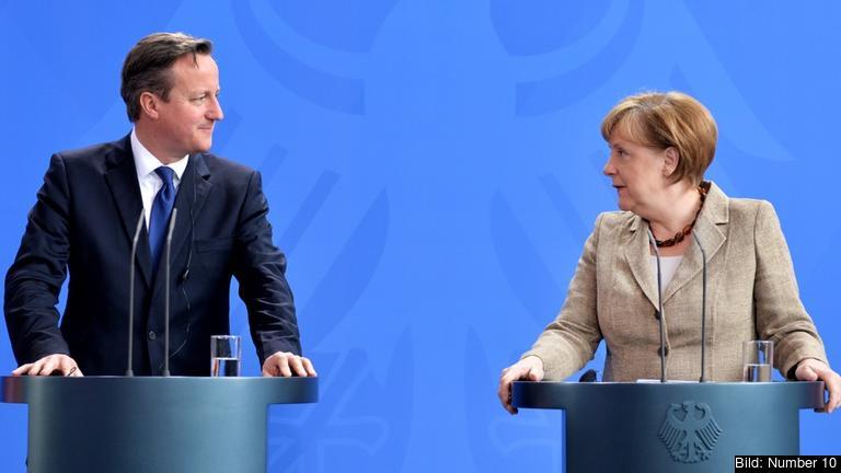 David Cameron och Angela Merkel efter fredagens möte.