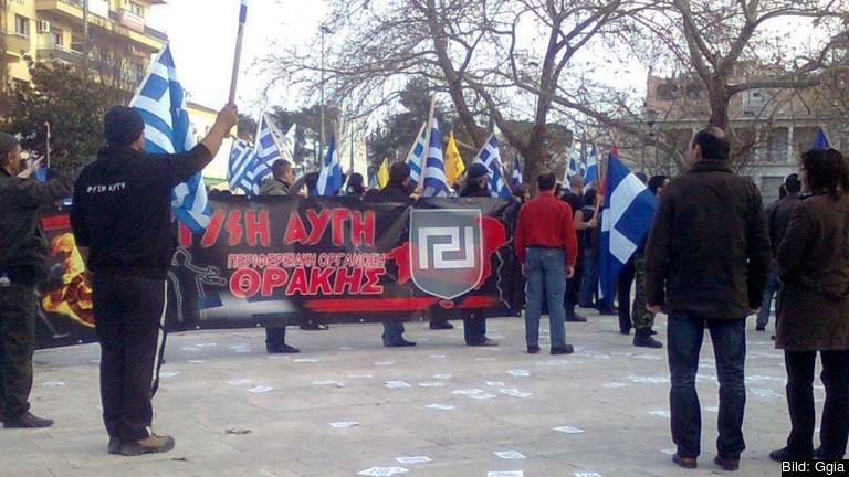 Demonstration för grekiska nynazistiska Gyllene gryning. Foto: Ggia