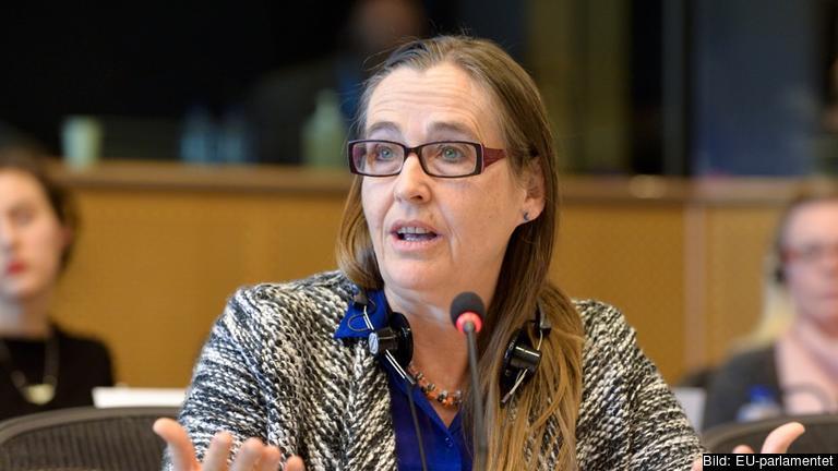 Miljöpartiet i EU-parlamentet stödjer inte svenska regeringens linje om PNR. På bilden EU-parlamentariker Bodil Valero (MP). Arkivbild.