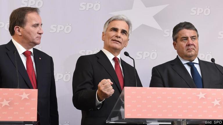 Statsminister Stefan Löfven (S), Österrikes förbundskansler Werner Faymann (S) och Tysklands vice förbundskanslern Sigmar Gabriel (S) är överens att driva kravet på ett socialt protokoll vid nästa stora fördragsändring i EU.