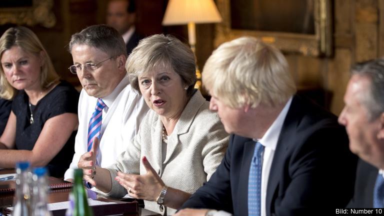 Storbritanniens premiärminister Theresa May i regeringsmöte. Arkivbild.