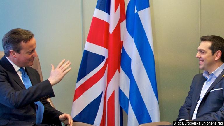 Storbritanniens premiärminister David Cameron och Greklands premiärminister Alexis Tsipras väntas stå i fokus under veckans EU-toppmöte. Arkivbild.