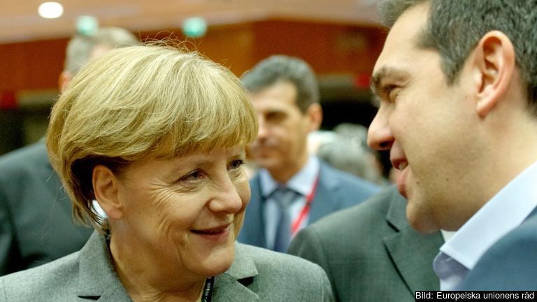 Angela Merkel och Alexis Tsipras. Arkivbild.