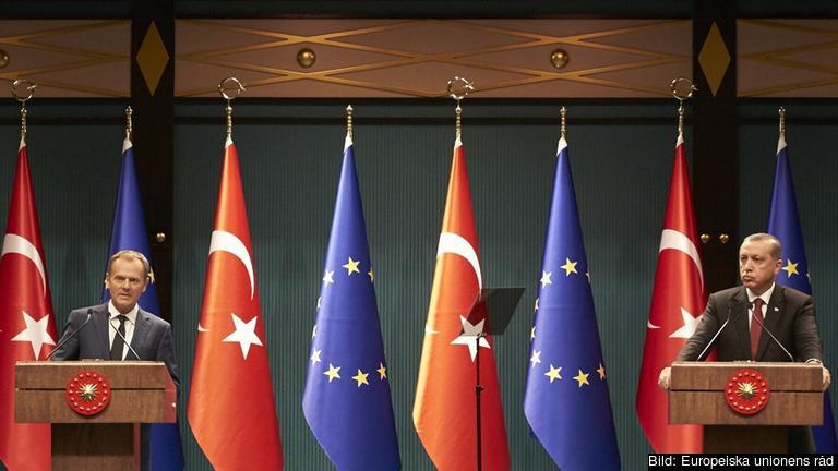 Europeiska rådets ordförande Donald Tusk och Turkiets president Recep Tayyip Erdoğan. Arkivbild.