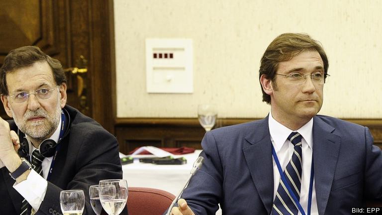Spaniens premiärminister Mariano Rajoy och Portugals premiärminister Pedro Passos Coelho. Arkivbild.