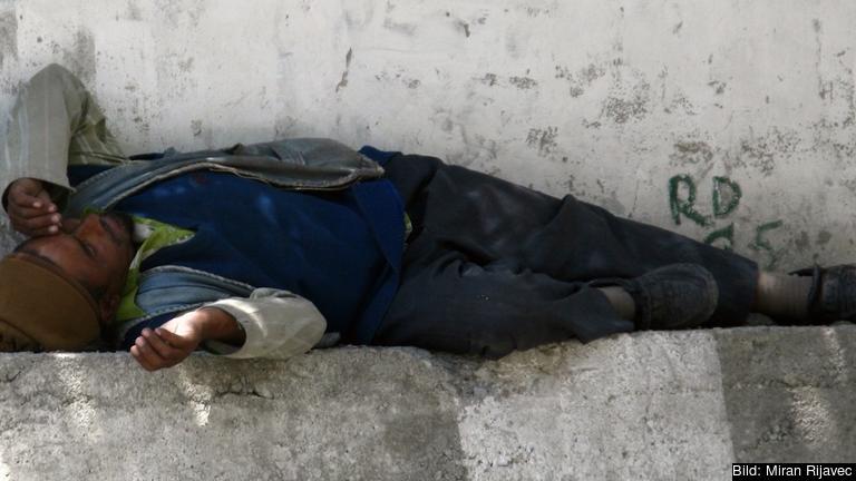 En utländsk arbetare i Slovenien. Arkivbild.