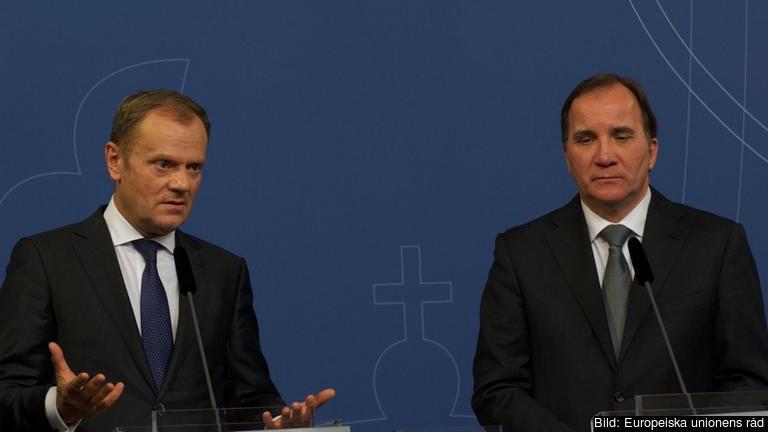 Europeiska rådets ordförande Donald Tusk och statsminister Stefan Löfven (S) under onsdagens möte.