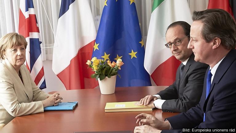 Tyska förbundskanslern Angela Merkel, franske presidenten François Hollande och brittiske premiärministern David Cameron. Arkivbild.