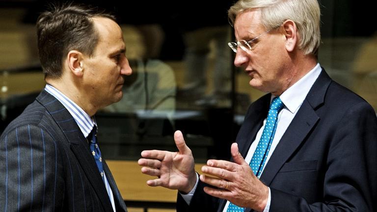 Den polske utrikesministern Radek Sikorski och hans svenske motsvarighet Carl Bildt har samarbetat under en lång tid tillbaka. Arkivbild.