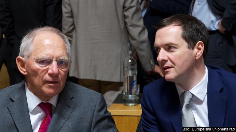 Tysklands finansminister Wolfgang Schäuble och hans brittiska kollega George Osborne varnar för Brexit. Arkivbild.