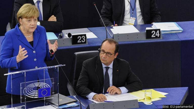 Tysklands förbundskansler Angela Merkel och Frankrikes president François Hollande.