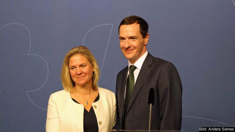 Finansminister Magdalena Andersson och  Storbritanniens finansminister George Osborne i förtroliga samtal om EU:s framtid, 24 augusti 2015.