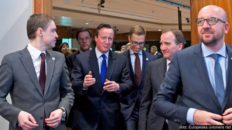 Den brittiske premiärministern David Cameron omgiven av bland annat statsminister Stefan Löfven. Arkivbild.