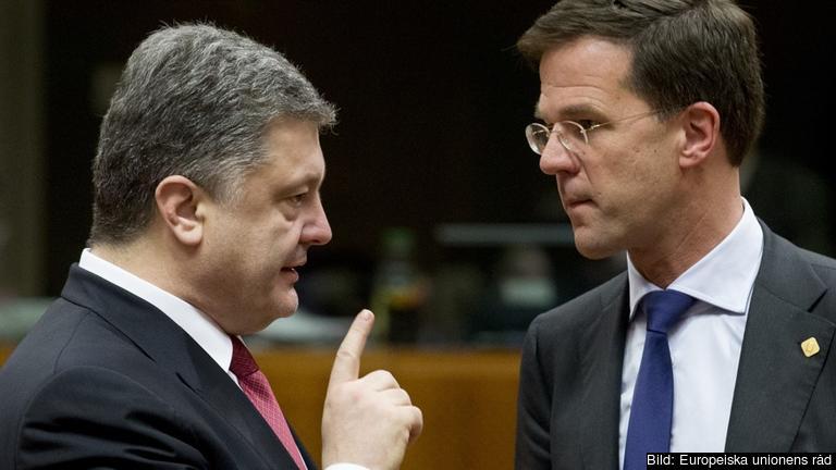 Ukrainas presidente Petro Porosjenko i samtal med Nederländernas premiärminister Mark Rutte. Arkivbild.