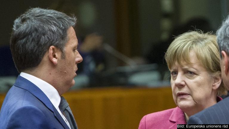 Italiens premiärminister Matteo Renzi i samtal med Tysklands förbundskansler Angela Merkel. Arkivbild.