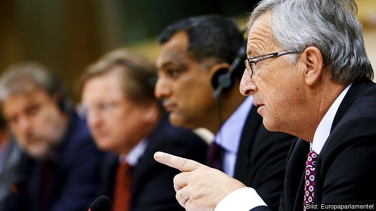 Jean-Claude Juncker under utfrågningen i ECR-gruppen.