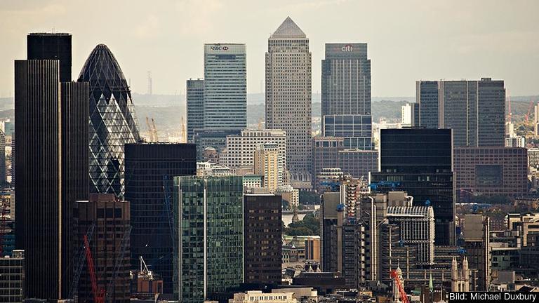 Finansiella tjänster utgör tio procent av Storbritanniens BNP. Arkivbild.