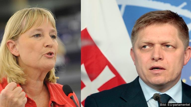 EU-parlamentariker Marita Ulvskog (S) och Slovakiens socialdemokratiske premiärminister Robert Fico. Arkivbild.