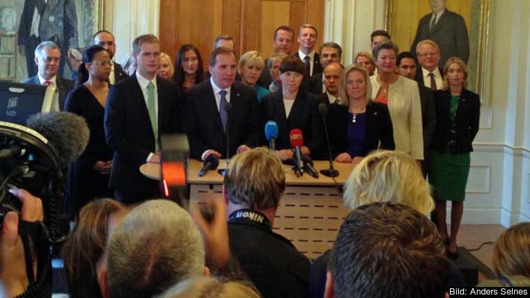 Den röd-gröna regeringens första presskonferens i riksdagshuset 3 okt 2014.