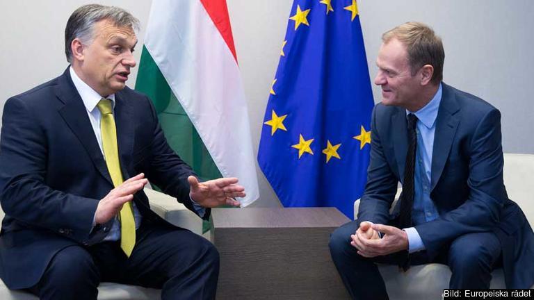 Ungerns premiärminister Viktor Orbán i samtal med Euroeiska rådets ordförande Donald Tusk.