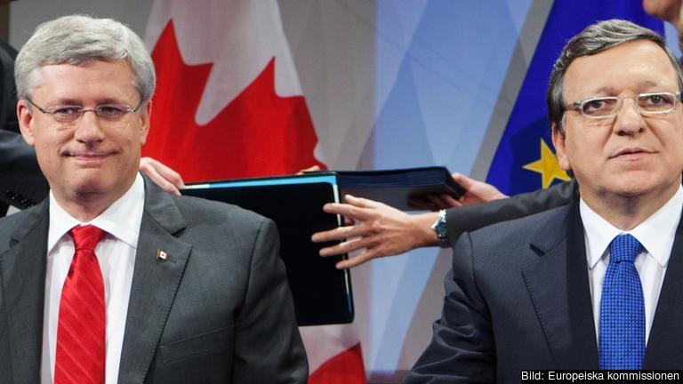 Den kanadensiske premiärministern Stephen Harper och EU-kommissionens ordförande José Manuel Barroso. Arkivbild.
