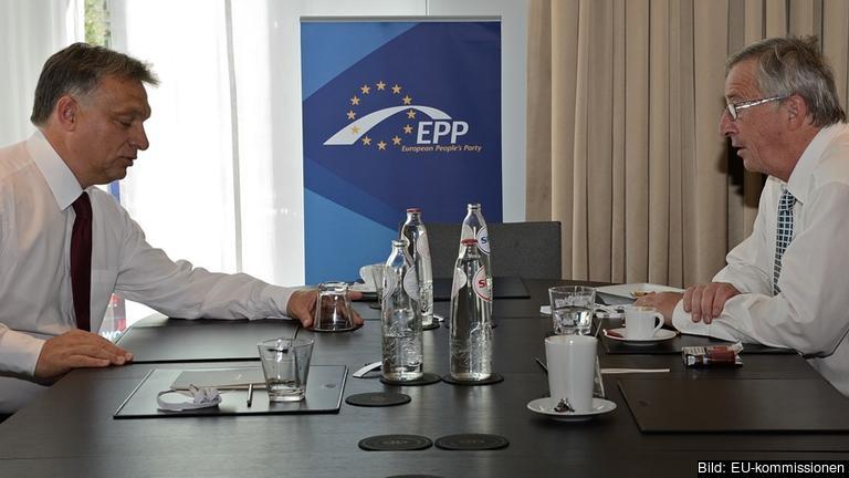 Ungerns premiärminister Viktor Orbán och EU-kommissionens ordförande Jean-Claude Juncker träffas i morgon. Arkivbild.