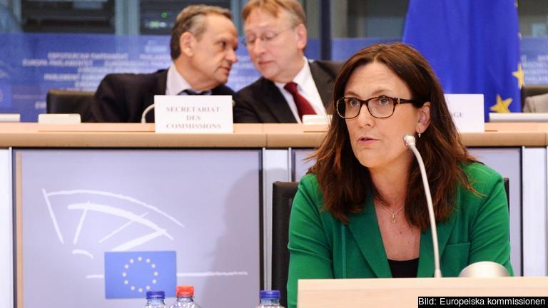 Cecilia Malmström under måndagens utfrågning.