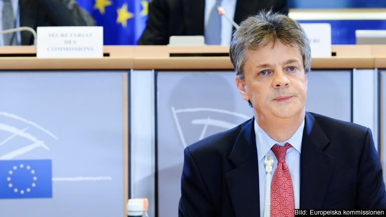 Den brittiske kommissionärskandidaten Jonathan Hill under onsdagens utfrågning.