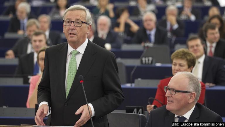 EU-kommissionens tillträdande ordförande Jean-Claude Juncker under sitt tal på onsdagen.