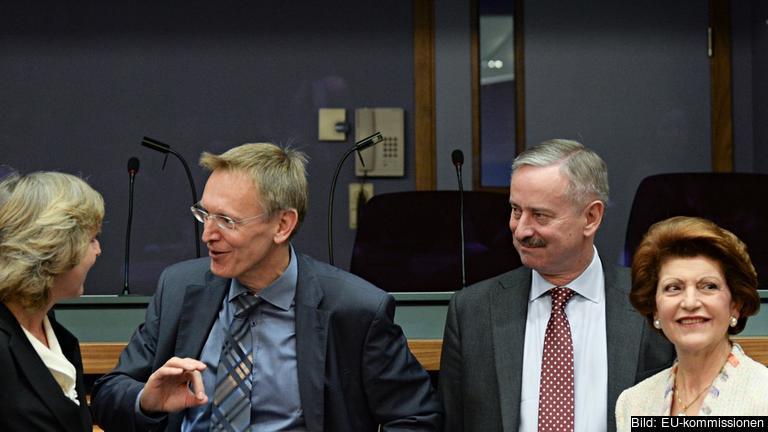 Fyra av de ex-kommissionärer som får övergångslön: Connie Hedegaard, Janez Potočnik, Siim Kallas och Androulla Vassiliou. Arkivbild.