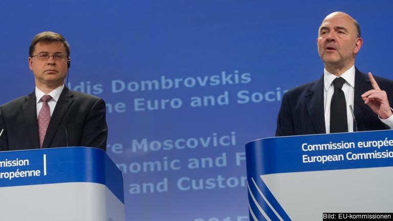 Kommissionär Valdis Dombrovskis och Pierre Moscovici. Arkivbild.
