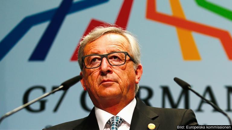 EU-kommissionens ordförande Jean-Claude Juncker vid lördagens presskonferens.