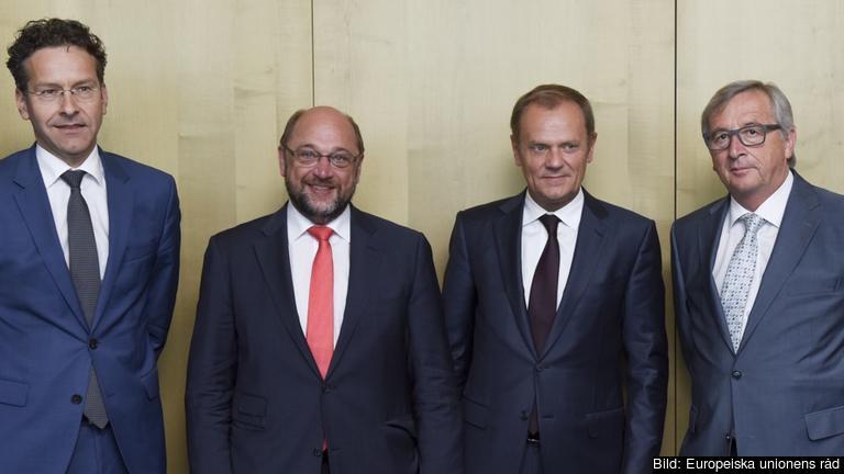 Fyra av de fem EU-ledarna bakom rapporten: Eurogruppens Jeroen Dijsselbloem, EU-parlamentets Martin Schulz, Europeiska rådets Donald Tusk och EU-kommissionens Jean-Claude Juncker.