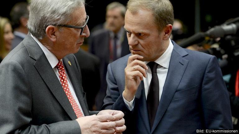 EU-kommissionens ordförande Jean-Claude Juncker och Europeiska rådets ordförande Donald Tusk. Arkivbild.