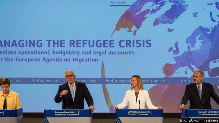 EU-kommissionärerna Kristalina Georgieva, Frans Timmermans, Federica Mogherini och Dimitris Avramopoulos