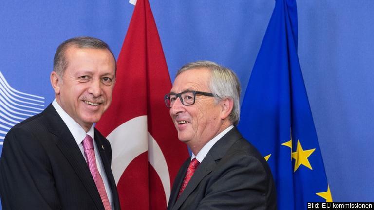 Turkiets president Recep Tayyip Erdoğan och Europeiska kommissionens ordförande Jean-Claude Juncker. Arkivbild.