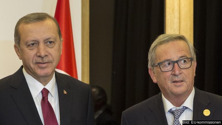 Turkiets president Recep Tayyip Erdoğan och EU-kommissionens ordförande Jean-Claude Juncker. Arkivbild.