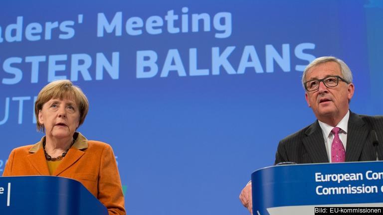 Tysklands förbundskansler Angela Merkel och EU-kommissionens ordförande Jean-Claude Juncker efter söndagens möte-