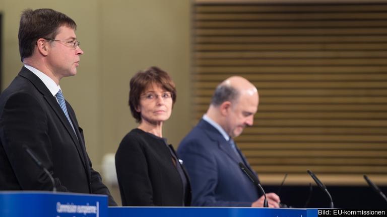 Eurokommissionär Valdis Dombrovskis, Sysselsättningskommissionär Marianne Thyssen och ekonomikommissionär Pierre Moscovici vid torsdagens lansering av europeiska planeringsterminen.