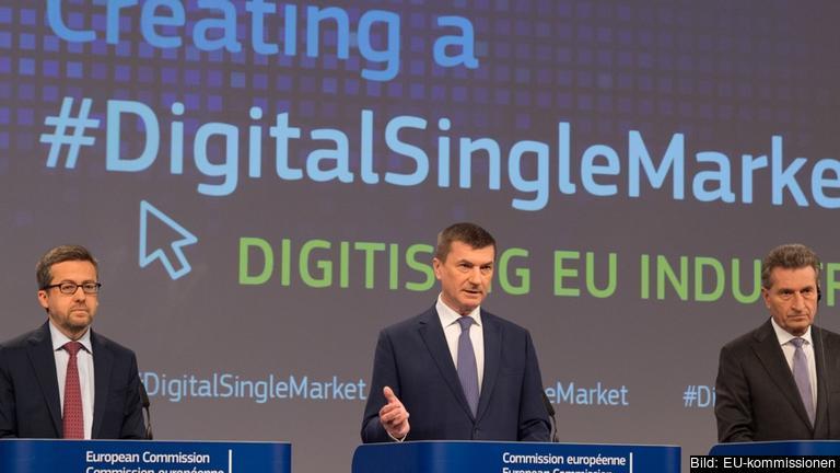 EU-kommissionärer Carlos Moedas, Andrus Ansip och Günther Oettinger.