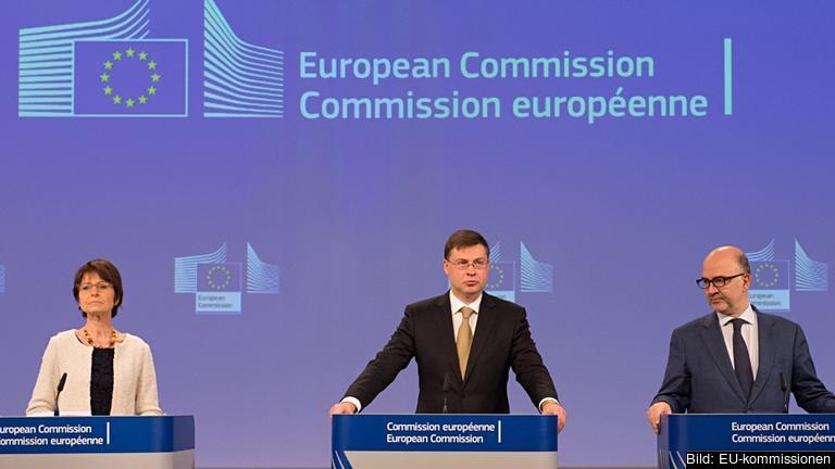 Sysselsättningskommissionär Marianne Thyssen, eurokommissionär Valdis Dombrovskis, ekonomikommissionär Pierre Moscovici.