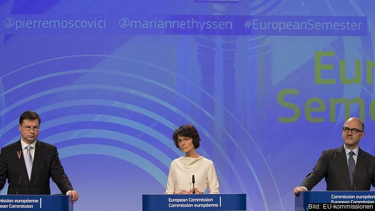 EU-kommissionärer Valdis Dombrovskis, Marianne Thyssen och Pierre Moscovici.