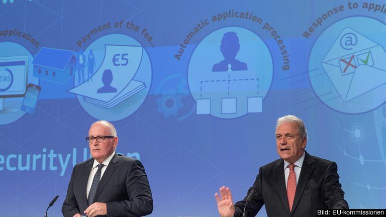 EU-kommissionärer Frans Timmermans och Dimitris Avramopoulos.