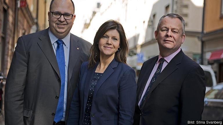 Karl-Petter Thorwaldsson, ordförande LO, Eva Nordmark, ordförande TCO och Göran Arrius, ordförande Saco. Arkivbild.