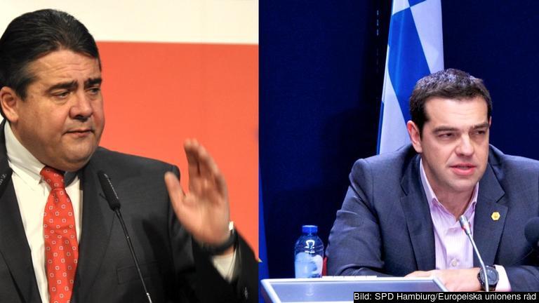 Tysklands biträdande förbundskansler tillika tyska socialdemokraters ledare Sigmar Gabriel och den grekiske premiärministern Alexis Tsipras. Arkivbild.