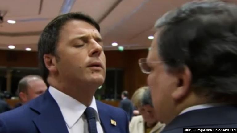Den italienske premiärministern Matteo Renzi samtalar med EU-kommissionens avgående ordförande José Manuel Barroso.