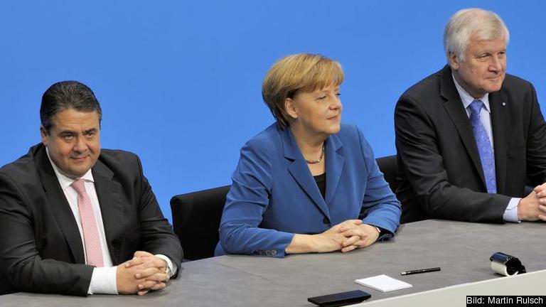 De tre partiledarna. CDU:s Angela Merkel, CSU:s Horst Seehofer och SPD:s Sigmar Gabriel. Foto: Martin Rulsch