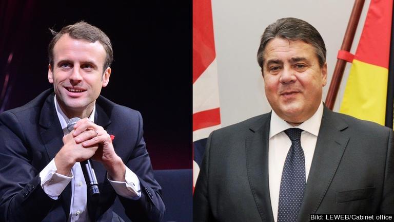 Frankrikes ekonomiminister Emmanuel Macron och Tysklands ekonomiminister Sigmar Gabriel.