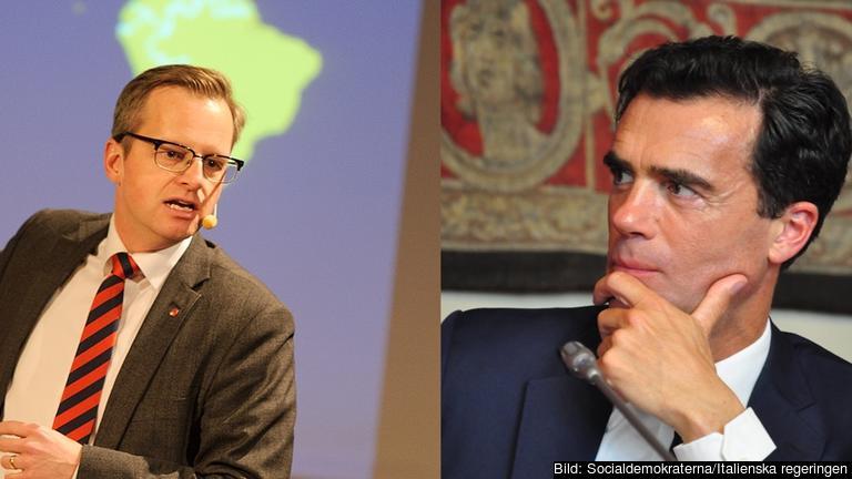 Närings- och innovationsminister Mikael Damberg (S) och Italiens statssekreterare för EU-frågor Sandro Gozi.